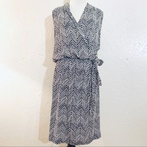 Ann Taylor Black & White Stripe Sleeveless Dress